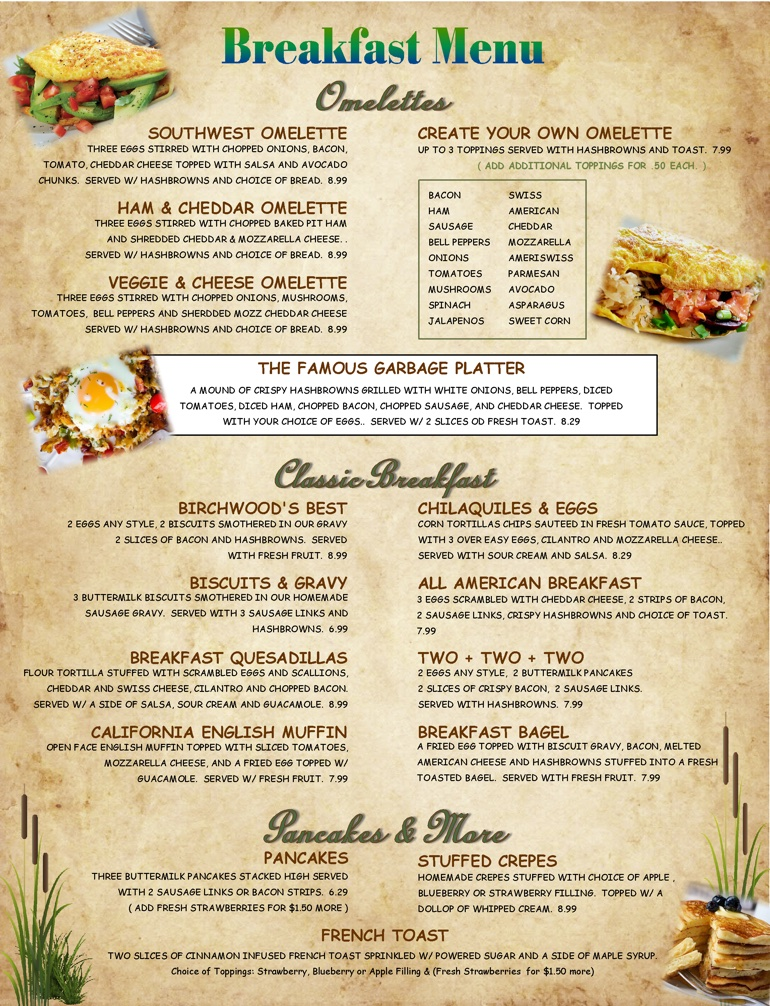 Birchwood Grill Breakfast Menu